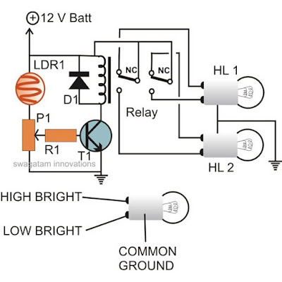 automatic headlight dimmer dipper circuit