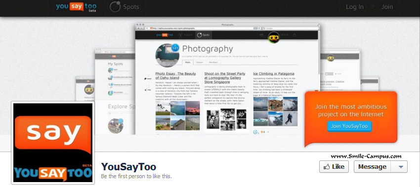 Facebook Fan Page of YouSayToo.com