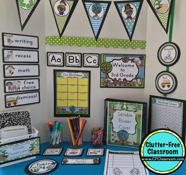 Classroom Decor Kit ~ Recycling themed classroom ideas printable