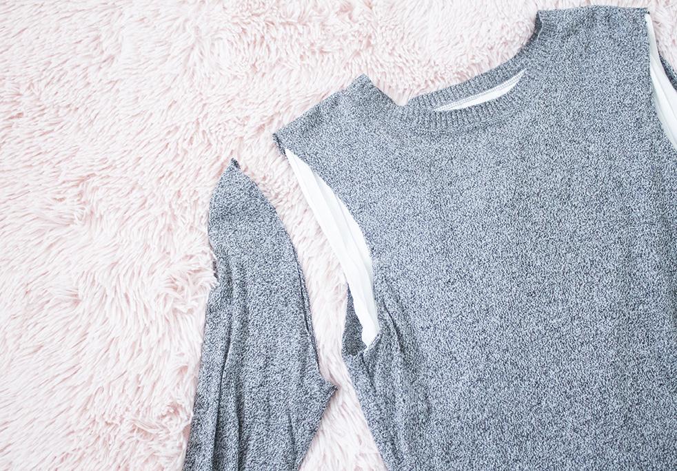 ruffle shoulder sweater refashion tutorial cut sleeve off