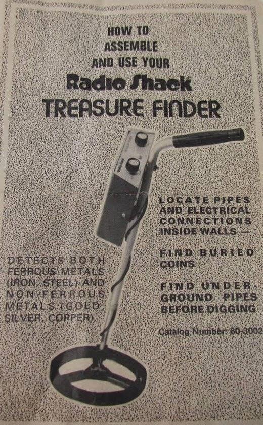 Détecteur métaux Treasure Finder Radio Shack, détecteurs métaux vintage, vintage métal detector, détecteurs de métaux anciens, old métal detector