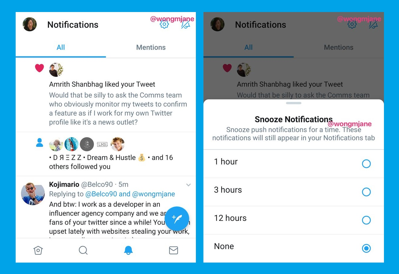Twitter is testing Snooze feature, allowing users to pause notifications for 1 hour, 3 hours or 12 hours!