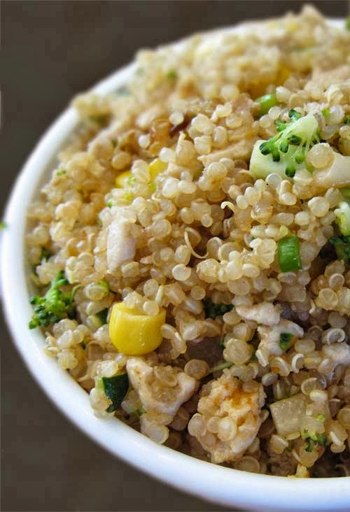 "Healthy Quinoa ""Egg Fried Rice"" Style.  Click for Recipe"