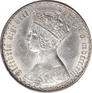 British Silver Coins Gothic Florin 1863 Queen Victoria