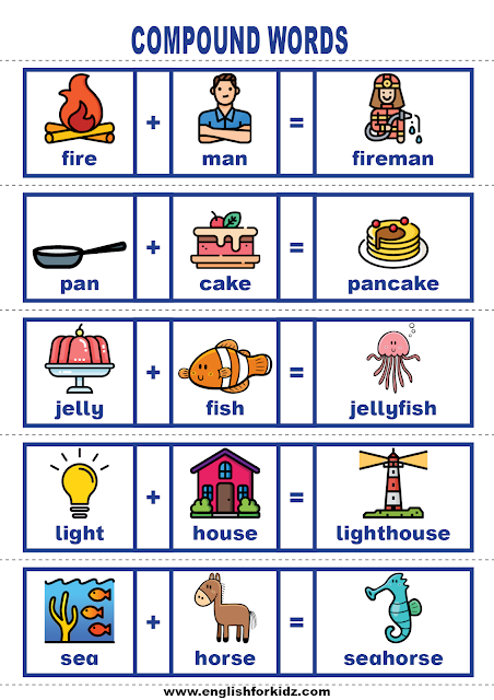 Easy ESL compound words activities - printable flashcards for English learners