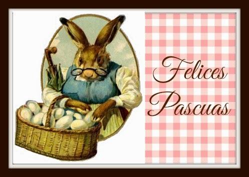 Etiqueta vintage de conejo de Pascua / Vintage Easter bunny tag
