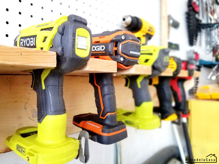 How to store your drills -pegboard mounted shelf
