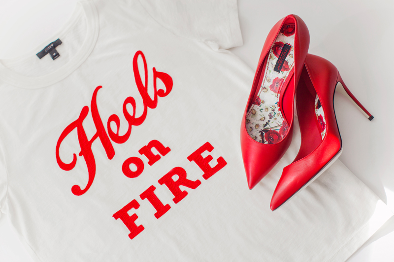 "Vintage cotton T-shirt in ""Heels on fire"""