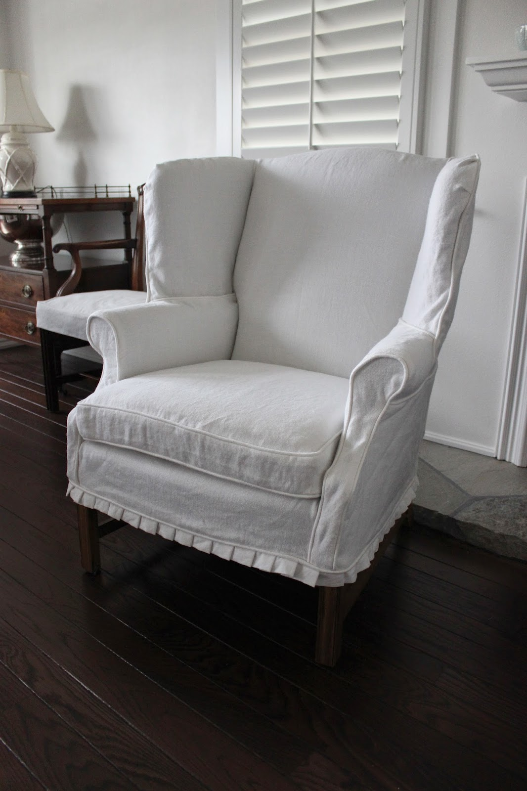 white cotton wing chair slipcover standing leaning custom slipcovers by shelley heavyweight linen