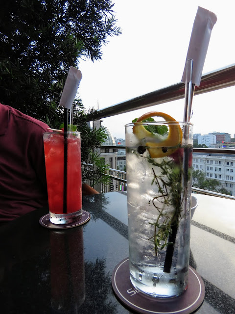 Cocktails at the rooftop bar of the Caravelle Hotel in Ho Chi Minh City Vietnam