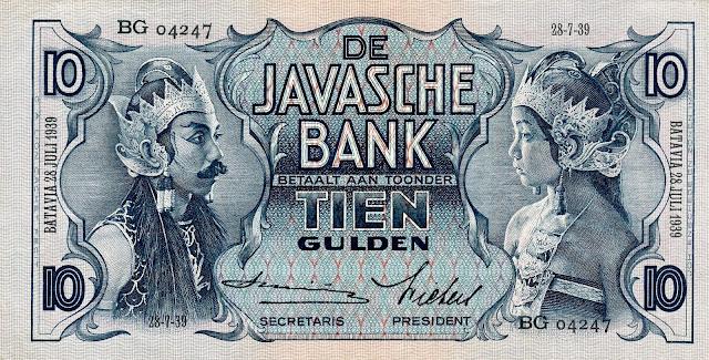 Netherlands Indies banknotes 10 Gulden note 1939 Javanese Dancers