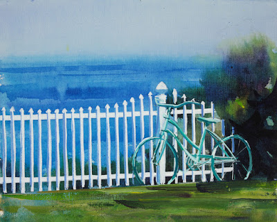 Acrylic painting of an old bicycle leaning up against a picket fence at Lake Ontario.