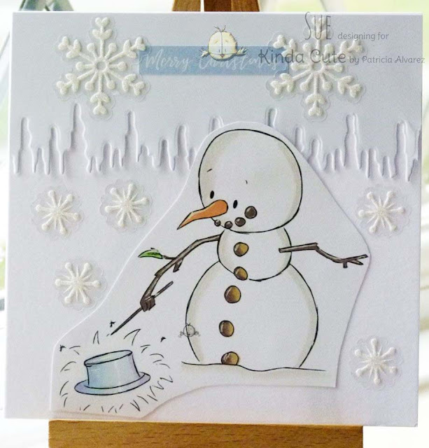 Christmas card using Snowman doing magic digital stamp