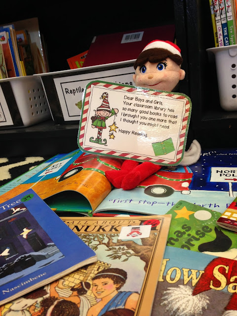 Elf in the classroom leave a book in the library