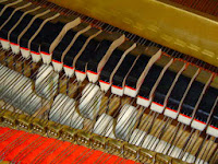 dampers & hammers in an acoustic piano