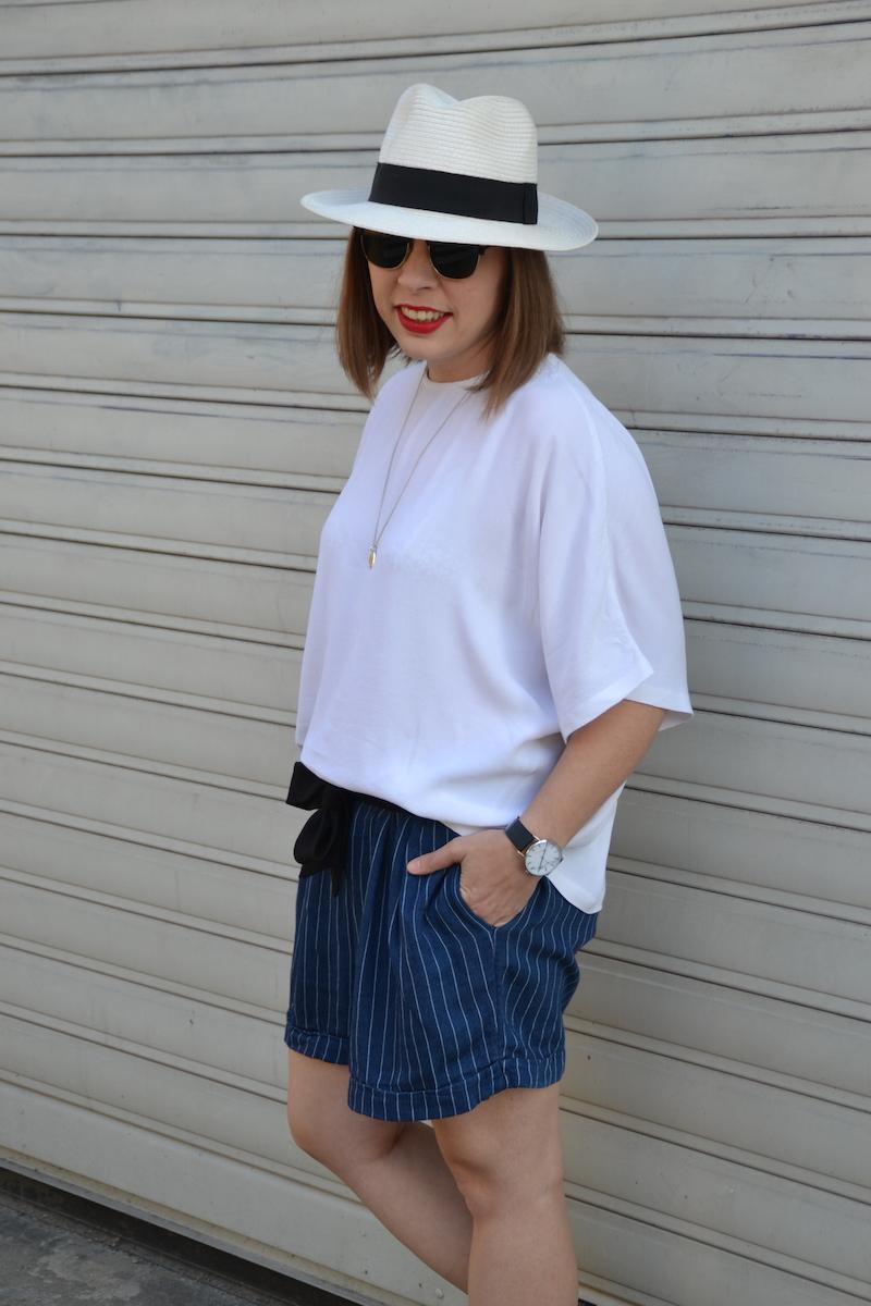 blouse blanche et short en conton rayé H&M et panama, ceinture noire
