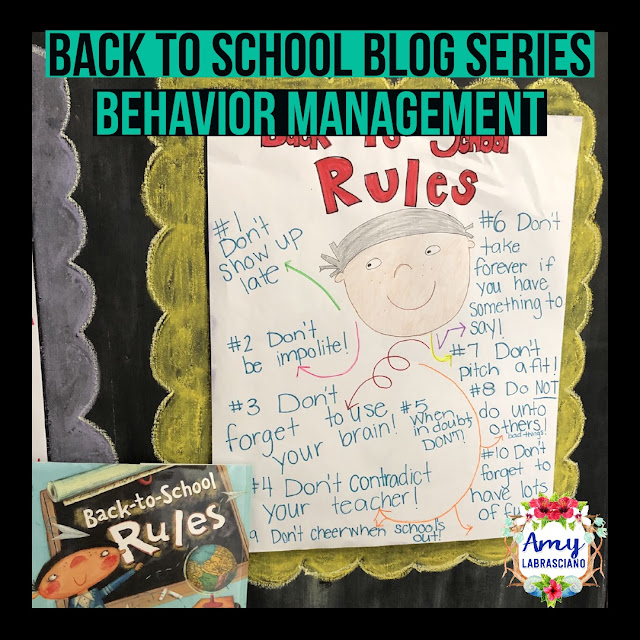Click here to find ideas for creating classroom rules and a behavior management plan.  Included are ideas and  an anchor chart for the very engaging book Back To School Rules.  Get your back to school plans for standard RL.2.1 ready.   Perfect for elementary classrooms.  {kindergarten, first, second, third, fourth, fifth, k, 1st, 2nd, 3rd, 4th, 5th}