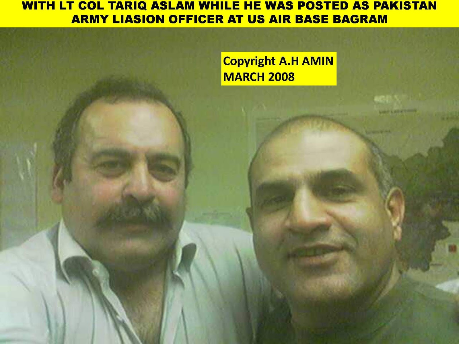 lieutenant colonel tariq aslam was serving in pakistans military operations directorate and posted as liasion officer with us military forces at bagram
