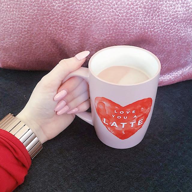 pink coffee and mug