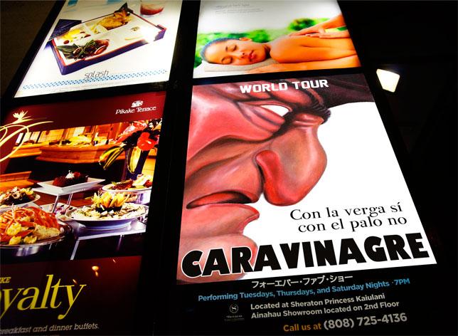 Cartel del espectáculo de Caravinagre en Honolulu, Estados Unidos