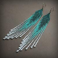 бирюзовые серьги длинные висячие бижутерия купить украшения из бисера ру