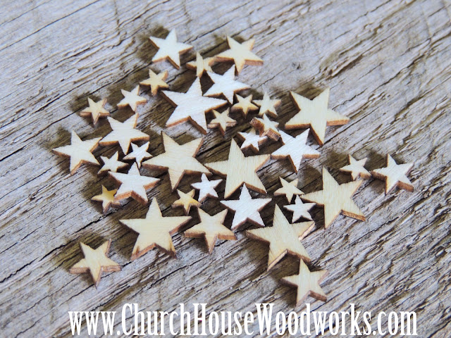 50 Tiny Mini Wood Stars- DIY Crafts Or Rustic Wedding Decorations- Wooden Centerpieces