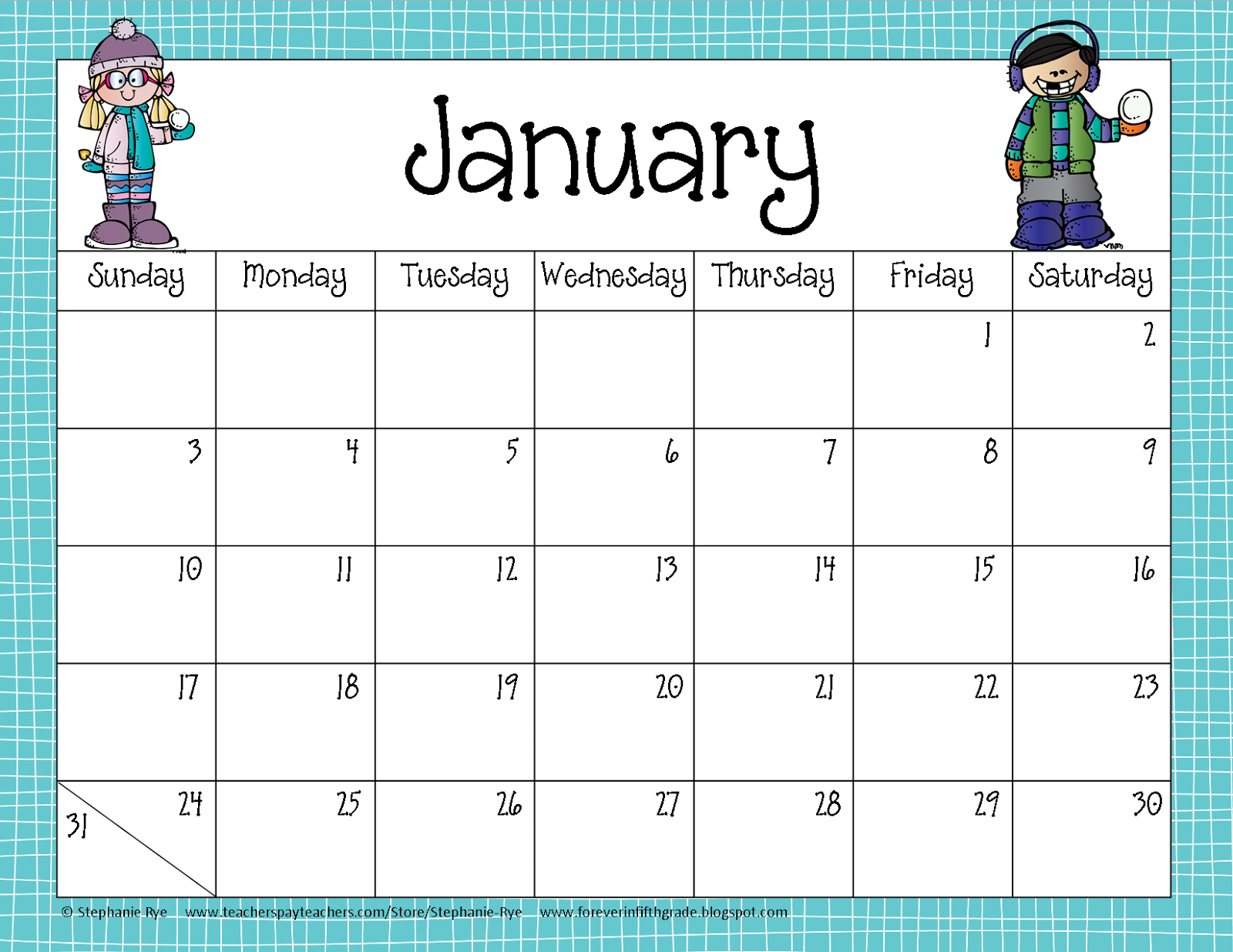 Fifth Grade Freebies School Year Calendar Freebie