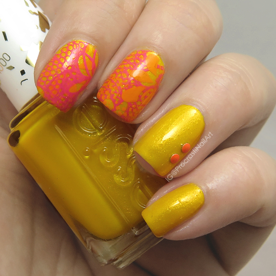 Nail art yellow orange and pink stamping for when colors nails but decided to use them just as accents and then added some studs to my ring finger so the two yellow only nails didnt feel left out of the prinsesfo Gallery