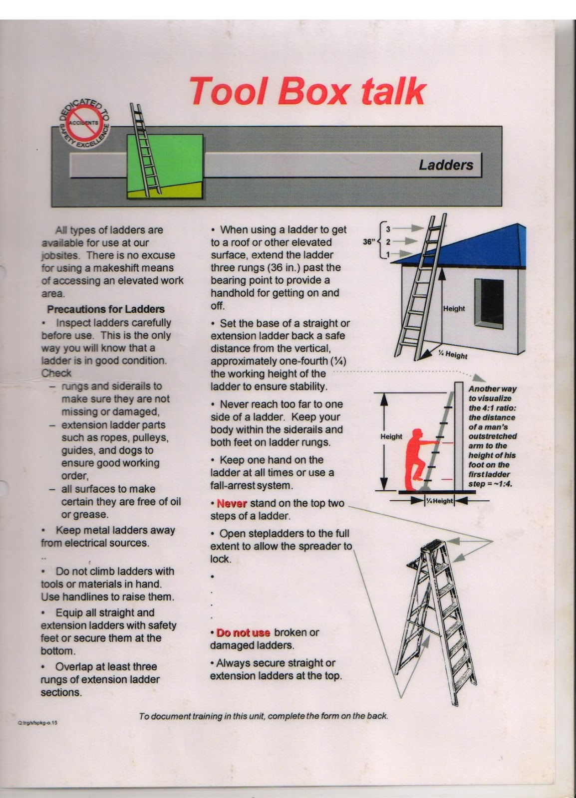 Hsedot Very Simple Safety Toolbox Talk Material