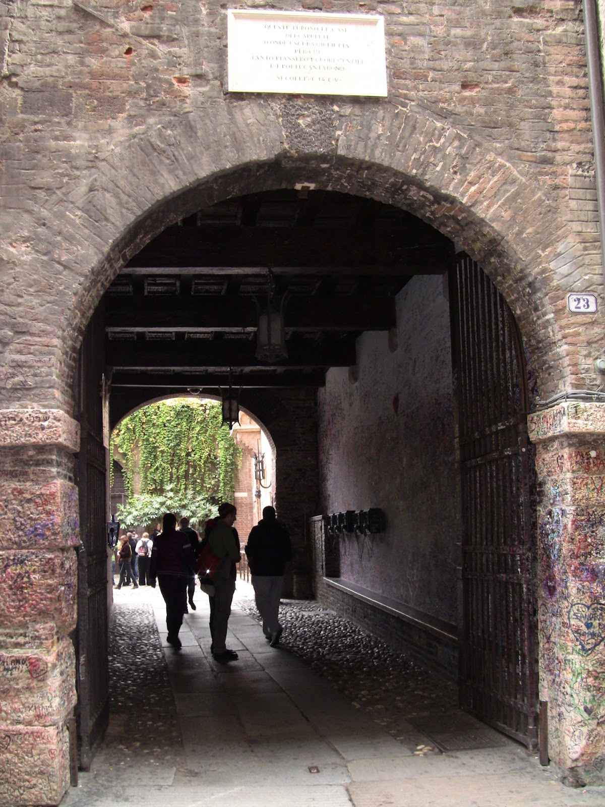 Entrance archway into Juliet's House and Courtyard in Verona. Photo: Gail Keller, WineTrekkerTV.com.