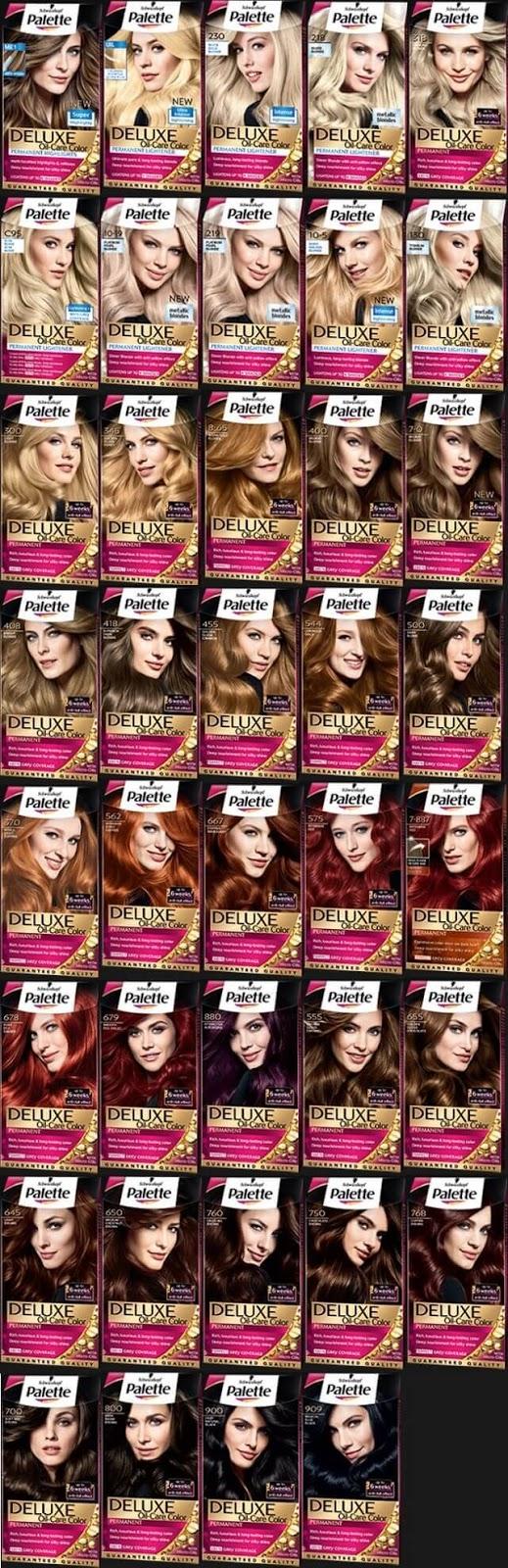 Palette deluxe  saç renk kodları