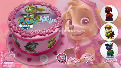 tarta personalizada fondat impresión comestible skye patrulla canina paw patrol Laia's Cupcakes Puerto Sagunto