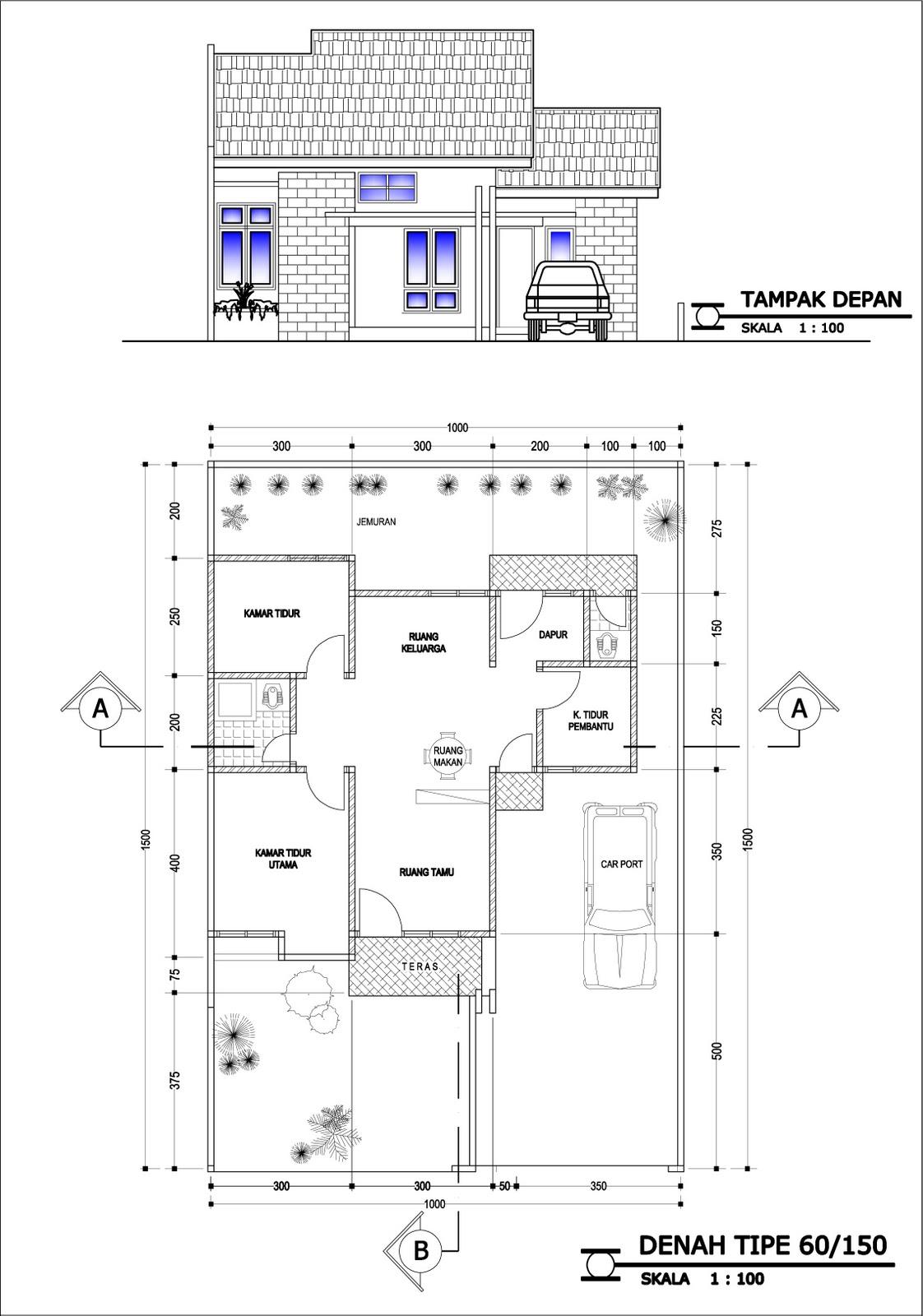 Image Result For Denah Rumah Minimalis Kamar Tampak Depan