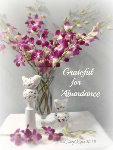 Orchids in a Glass Vase, White Ceramic Birds, Purple Orchids, Grateful, Abundance, Florals-Family-Faith, Cindy Rippe