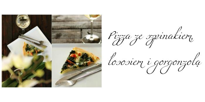 Pizza ze szpinakiem, łososiem i gorgonzolą
