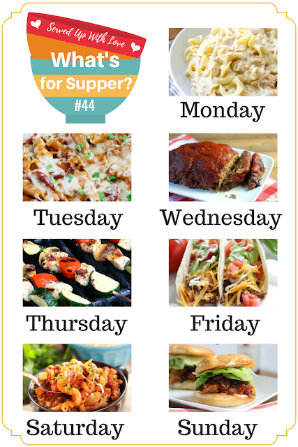 Crock Pot Chicken and Noodles, Chili Mac, Family Favorite Meatloaf and more are featured in What's for Supper meal plan over at Served Up With Love.