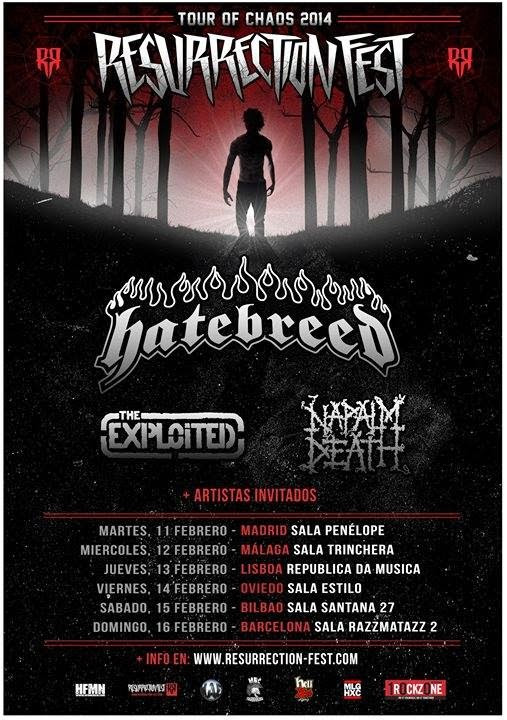 Hatebreed, Napalm Death y Exploited