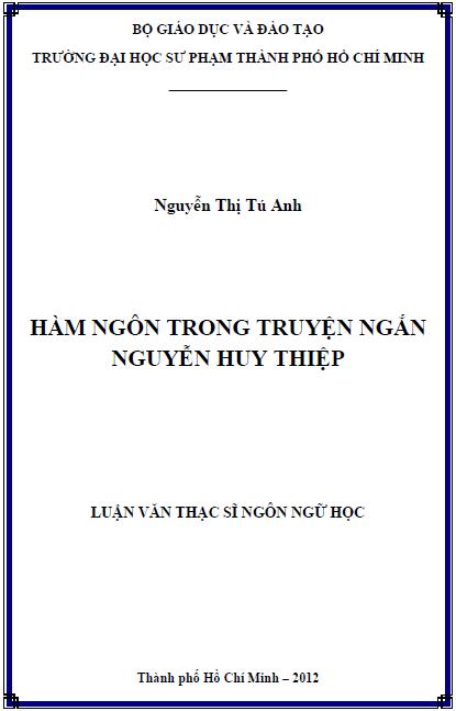Hàm ngôn trong truyện ngắn Nguyễn Huy Thiệp