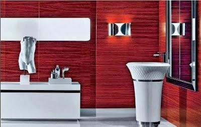 baño color rojo blanco