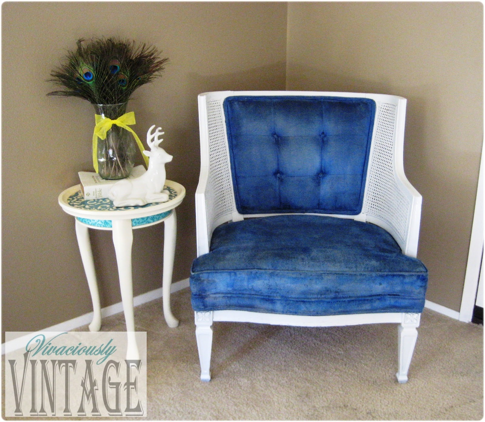 Blue And White Chair Ansley Designs Vintage Royal Blue And White Tufted Chair