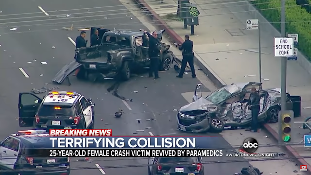 Allegedly stolen truck slams into 5 cars as it avoids traffic stop in Los Angeles | ABC News | Breaking Video News | Xit4U TV