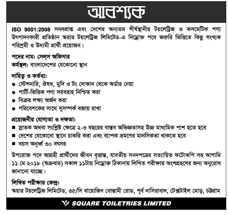 Square Toiletries Limited (STL) Job Circular 2018