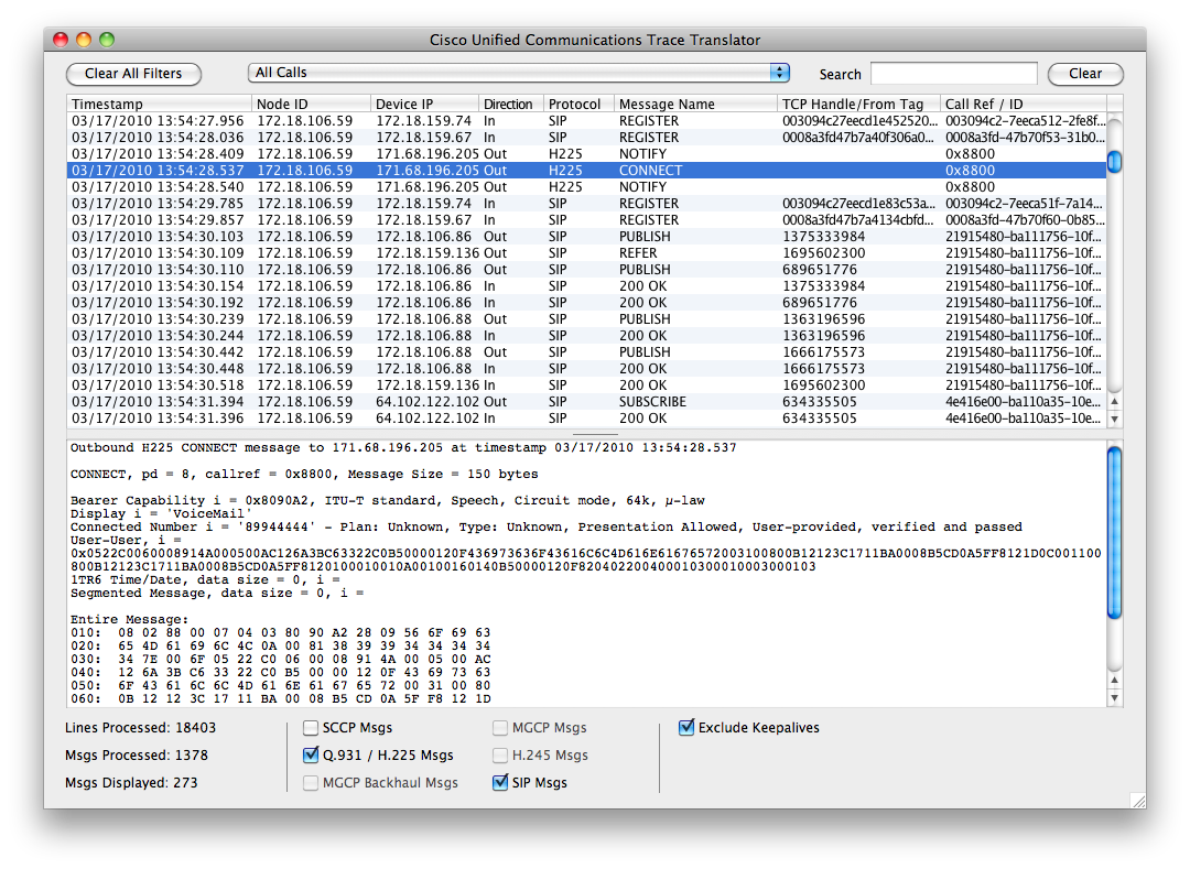 TranslatorX - Quick & Easy Call Manager Trace Analysis Tool