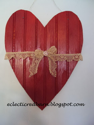 Beadboard Valentine. Share NOW. #valentine #decor #recycle #eclecticredbarn