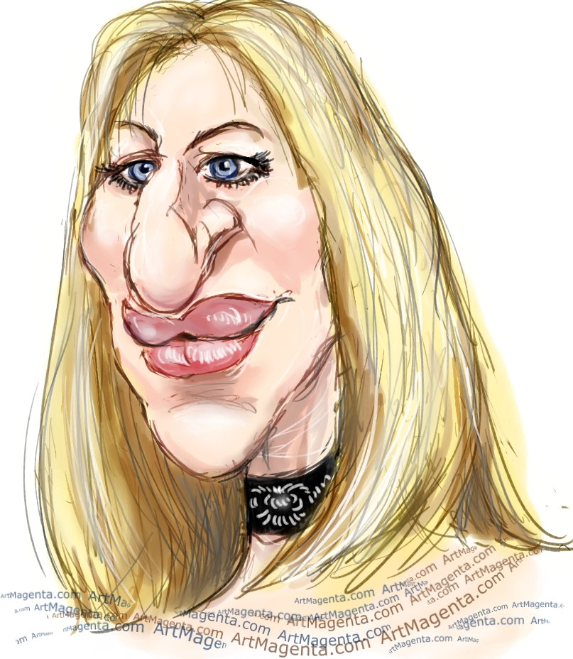 Barbra Streisand caricature cartoon. Portrait drawing by caricaturist Artmagenta