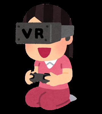 VRゲームをプレイする人のイラスト(女性・ゲームパッド)