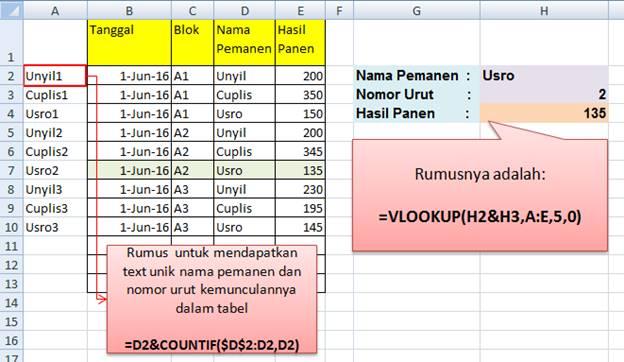 Contoh Studi Kasus VLOOKUP Excel Nomor Urut