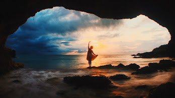 Sea, Cave, Girl, Sunset, Nature, Scenery, 4K, #6.993