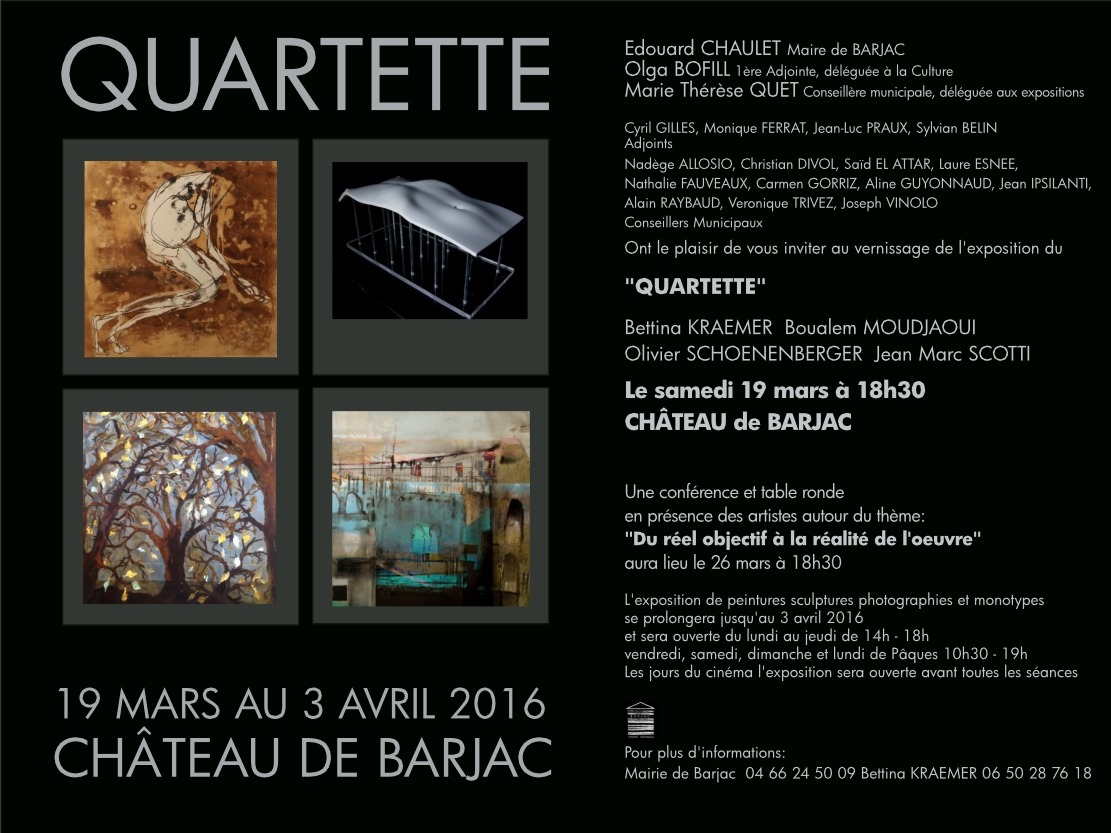 exposition au ch teau de barjac quartette 19 mars 3 avril 2016 edouard chaulet barjac. Black Bedroom Furniture Sets. Home Design Ideas