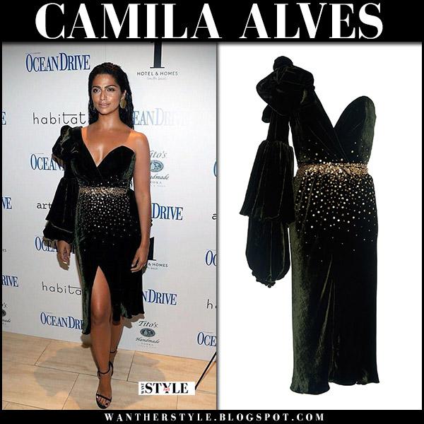 Camila Alvez in one shoulder velvet dress johanna ortiz red carpet november 9 2017 style